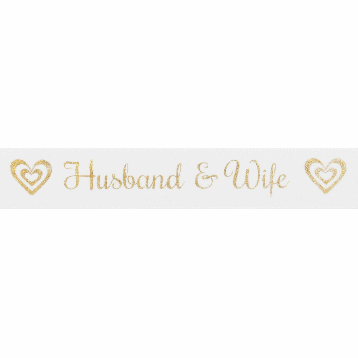 Picture of Ribbon: Husband & Wife: 20m x 15mm: Gold