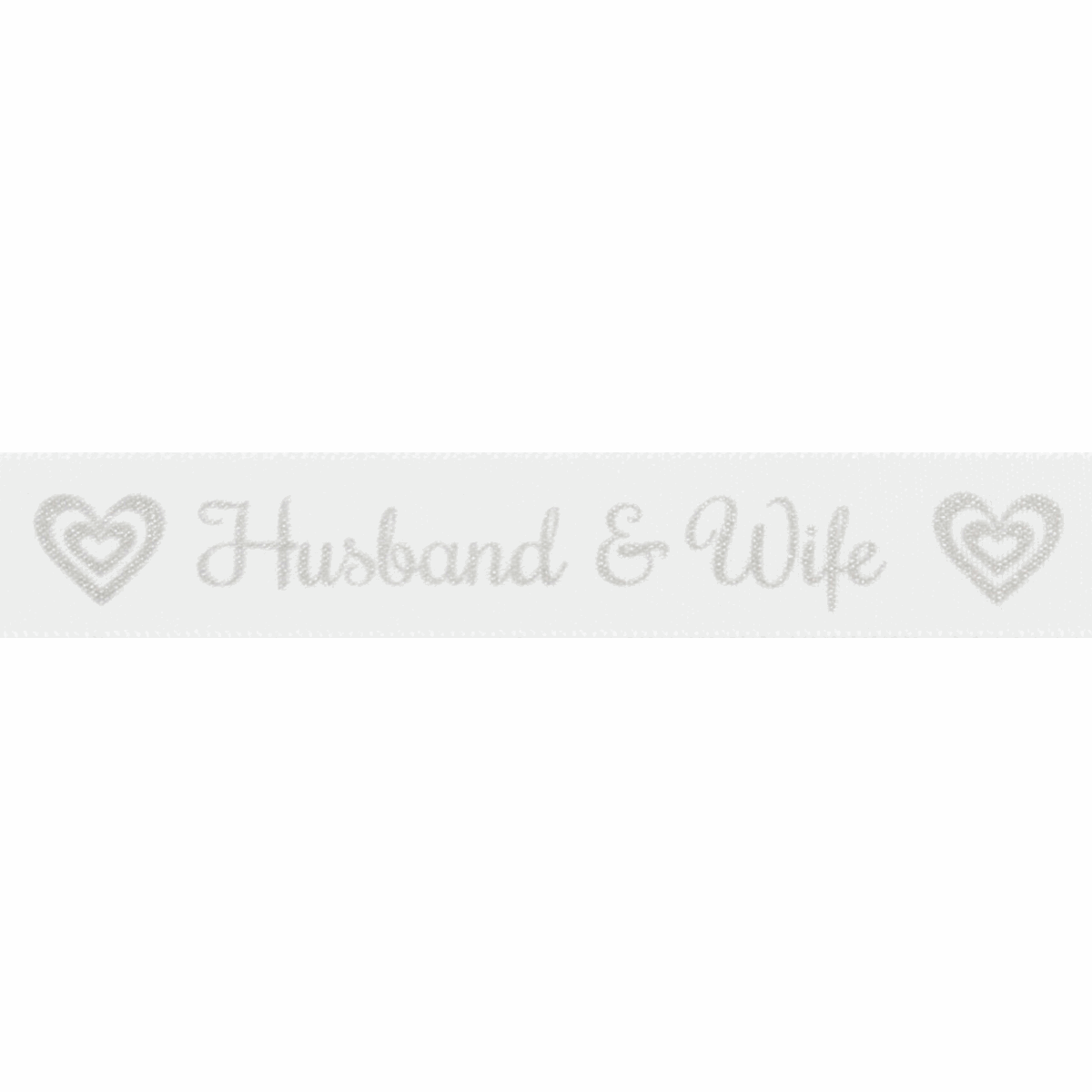 Picture of Ribbon: Husband & Wife: 20m x 15mm: Silver