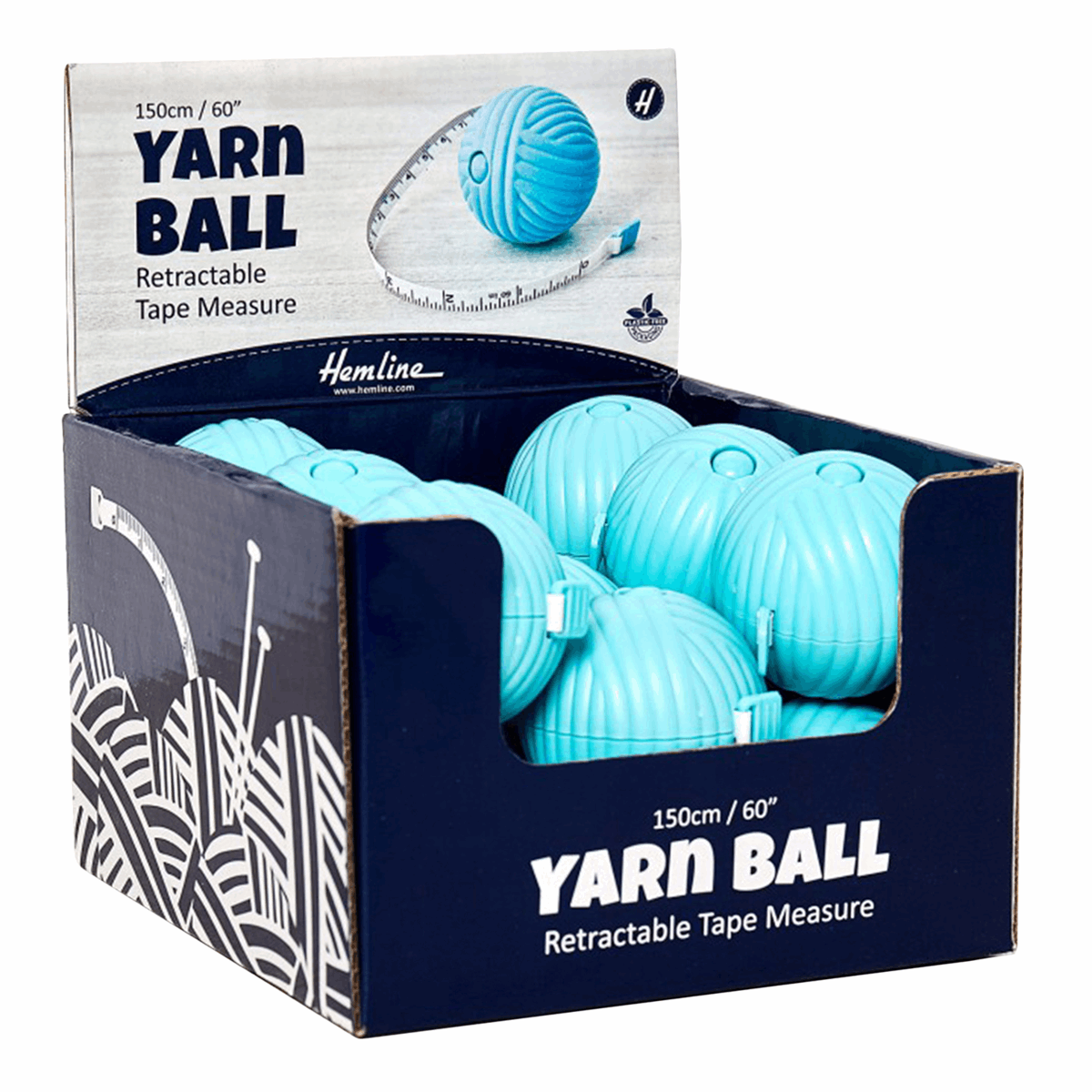 Picture of Counter Display Unit: Yarn Ball Retractable Tape Measures: Blue: 15 Pieces
