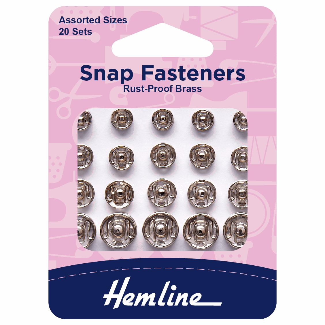 Picture of Snap Fasteners: Sew-on: Nickel: Assorted: Pack of 20