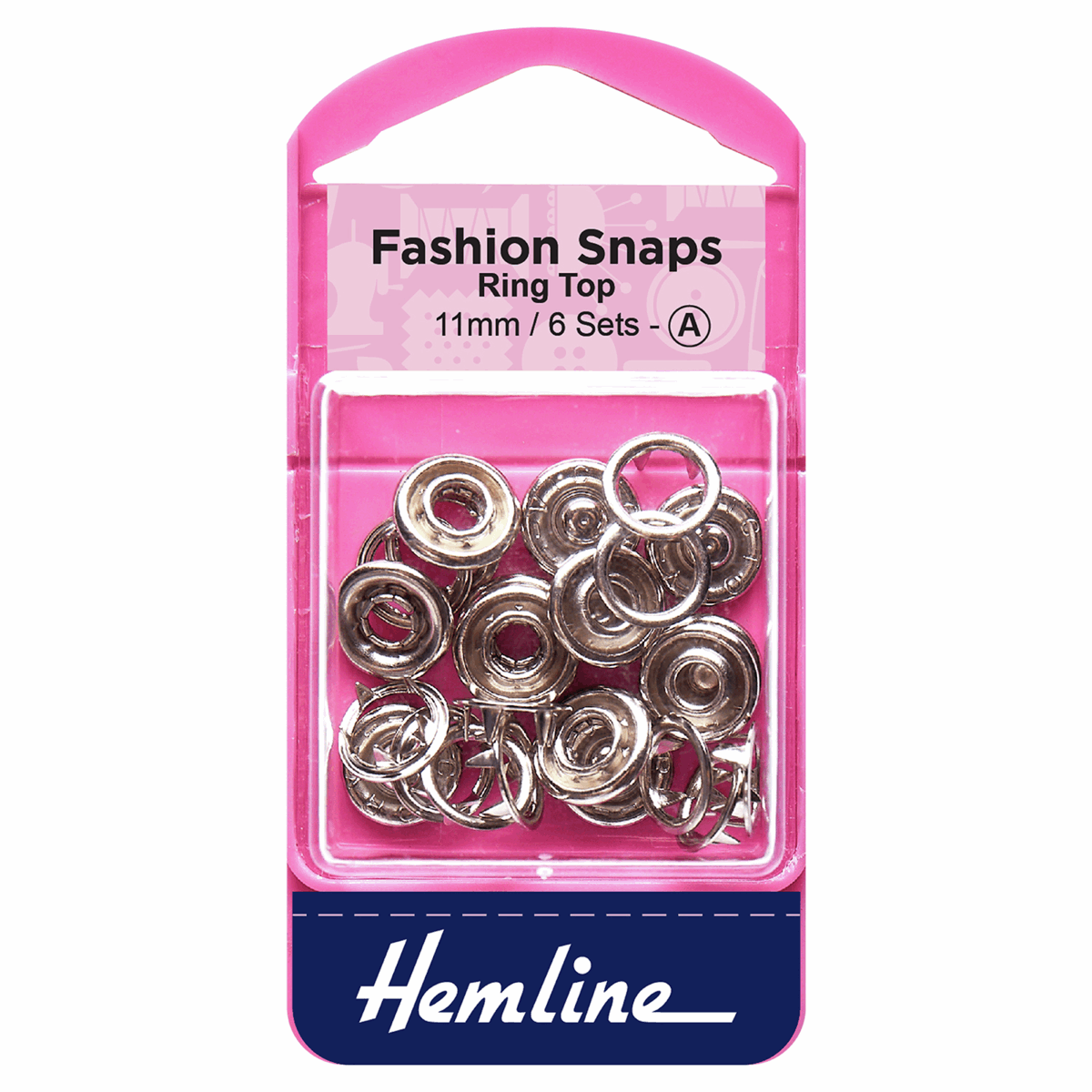 Picture of Fashion Snaps: Ring Top: 11mm: Silver: 6 Sets
