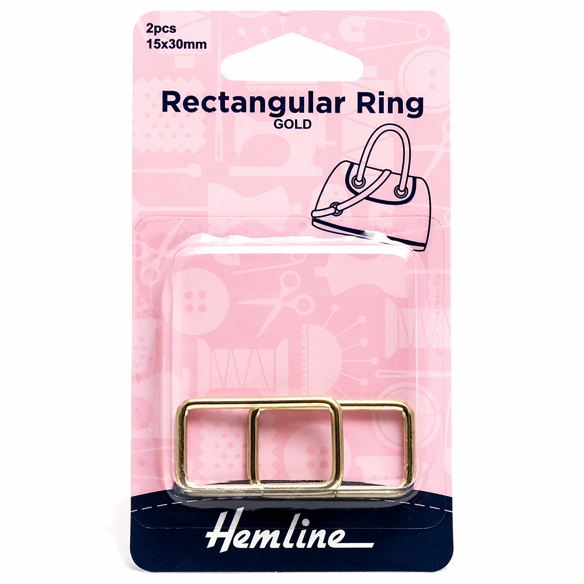 Picture of Rectangular Ring: 30mm: Gold: 2 Pieces