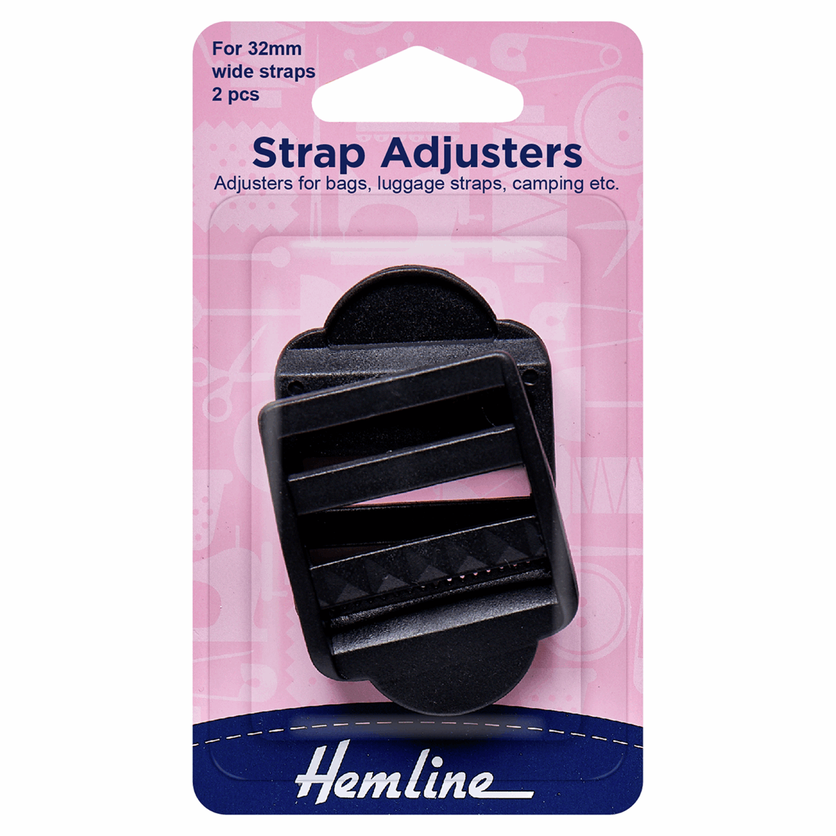 Picture of Strap Adjustable Buckle: 32mm: Black: 2 Pieces