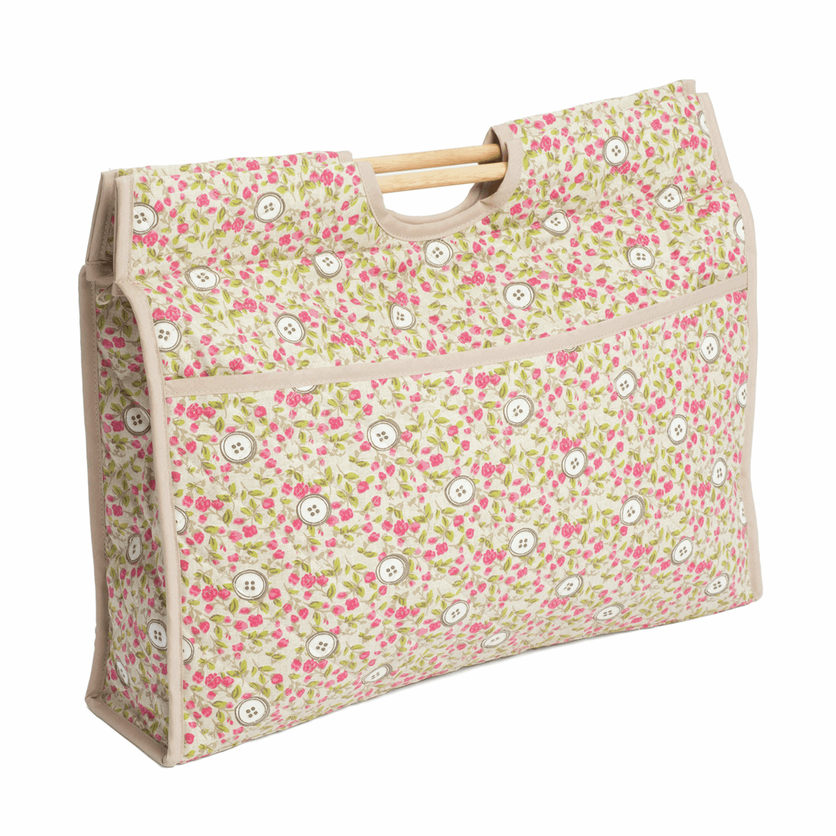 Picture of Craft Bag with Wooden Handles: Floral Button
