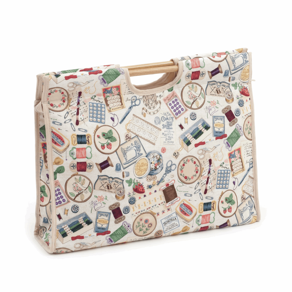 Picture of Craft Bag with Wooden Handles: Sewing Notions