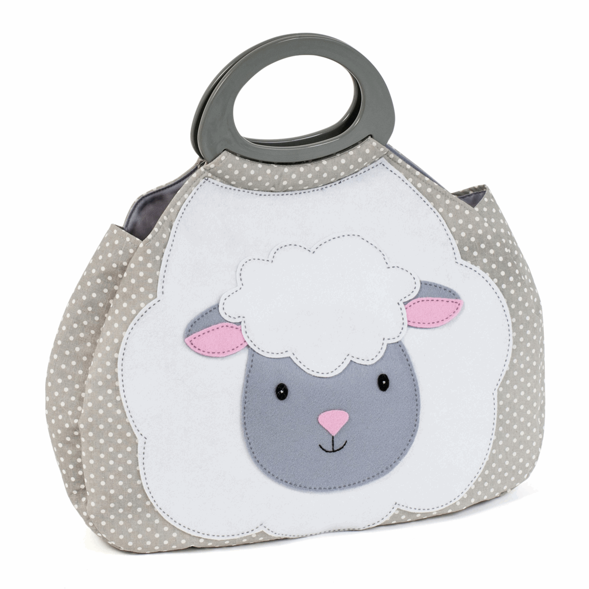 Picture of Knitting Bag: Gathered: Novelty Sheep: Grey Spot