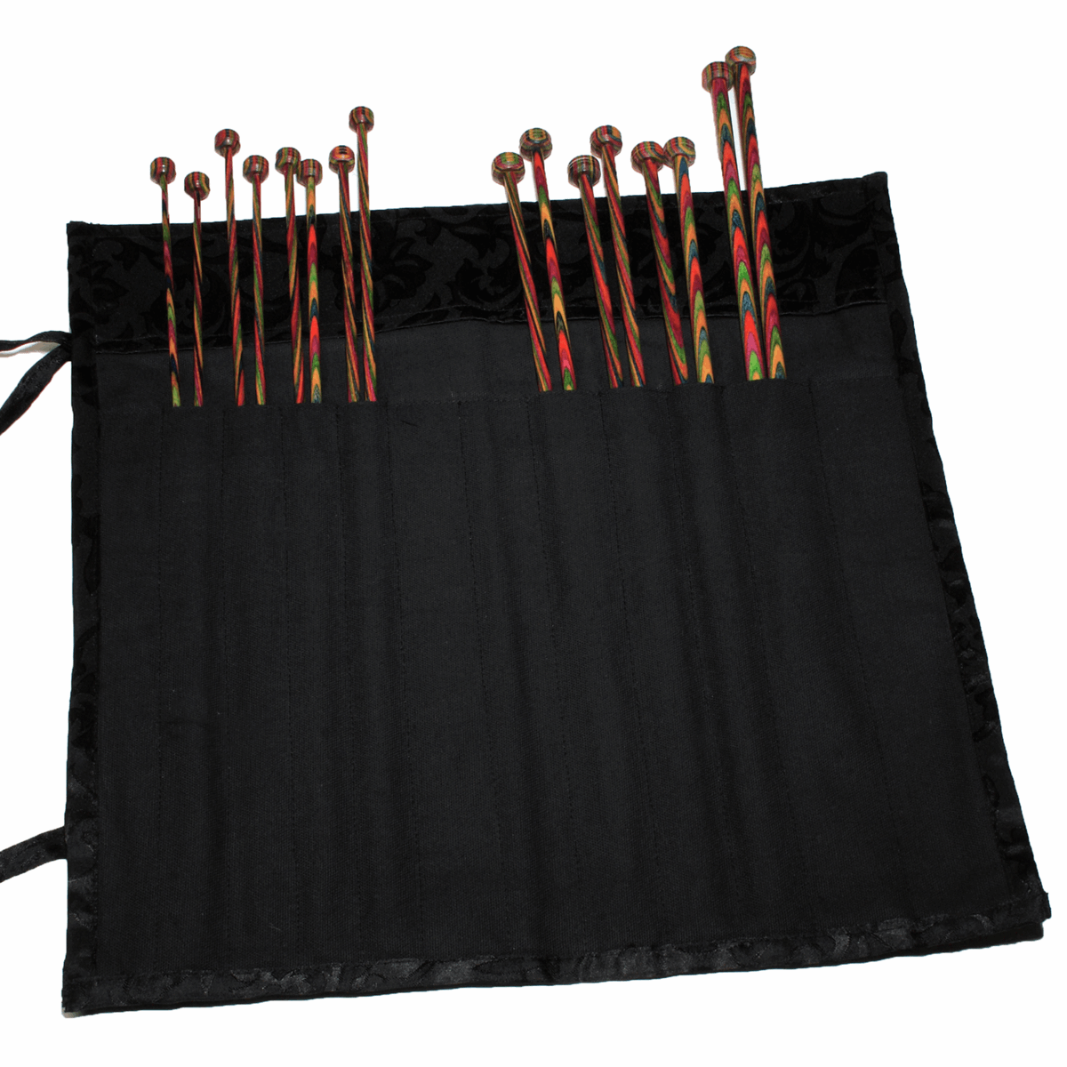Picture of Fabric Knitting Pin Case: Black Jacquard Wrap-Around: 30cm