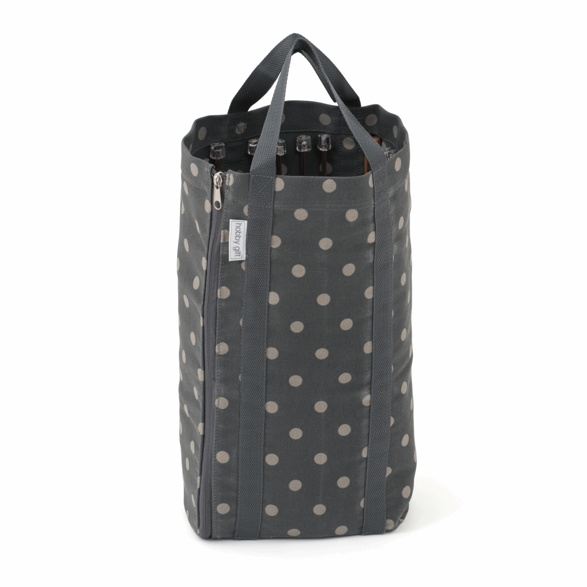 Picture of Knitting Bag with Pin Storage: Reversible: Charcoal Spot