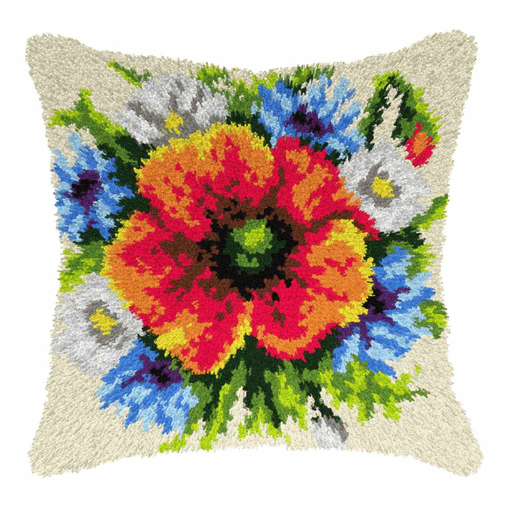Picture of Latch Hook Kit: Cushion: Large: Wild Flowers