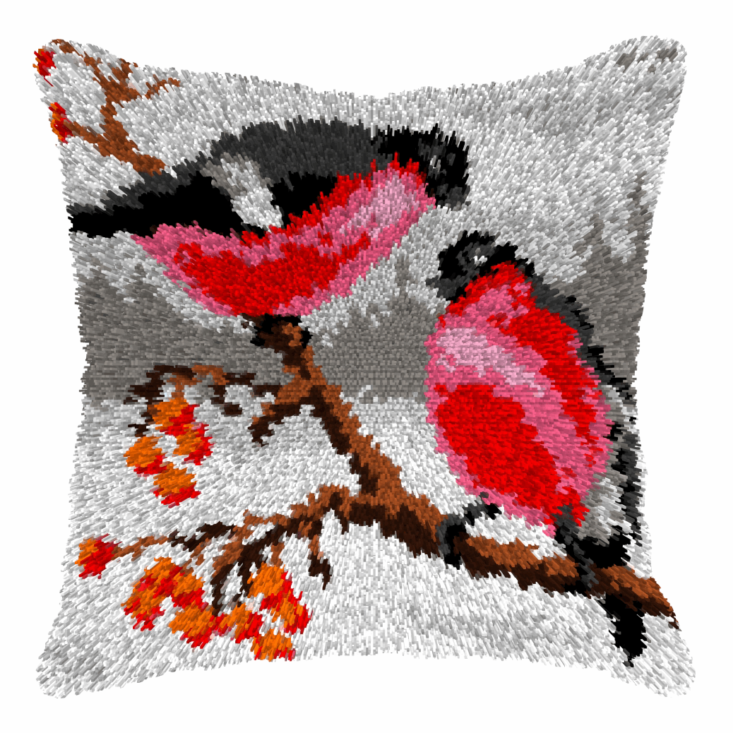 Picture of Latch Hook Kit: Cushion: Large: Bullfinches