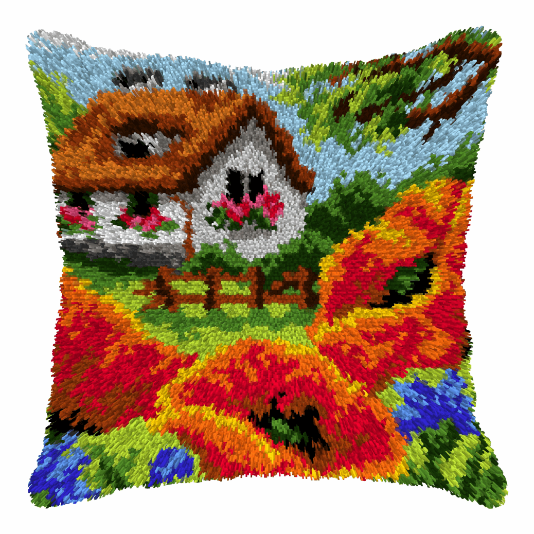 Picture of Latch Hook Kit: Cushion: Large: Cottage and Poppies