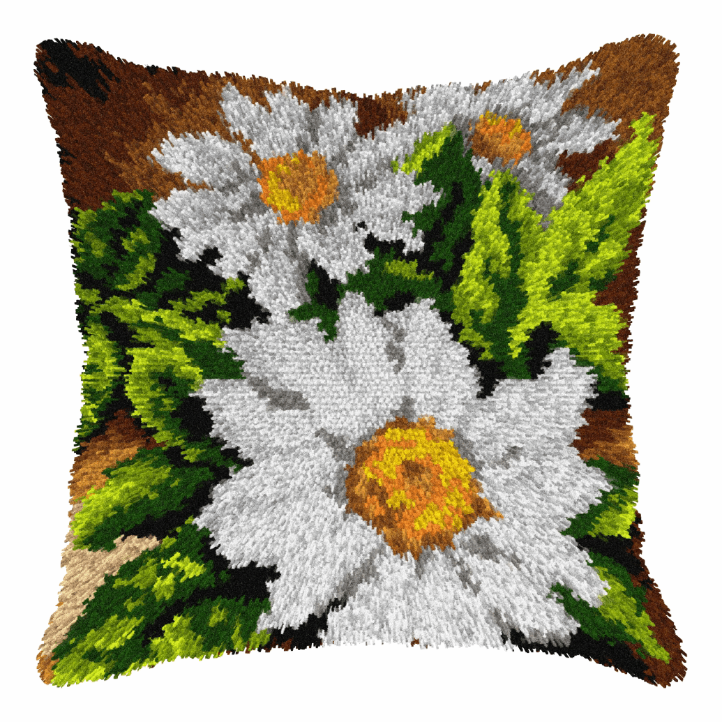 Picture of Latch Hook Kit: Cushion: Large: Daisies
