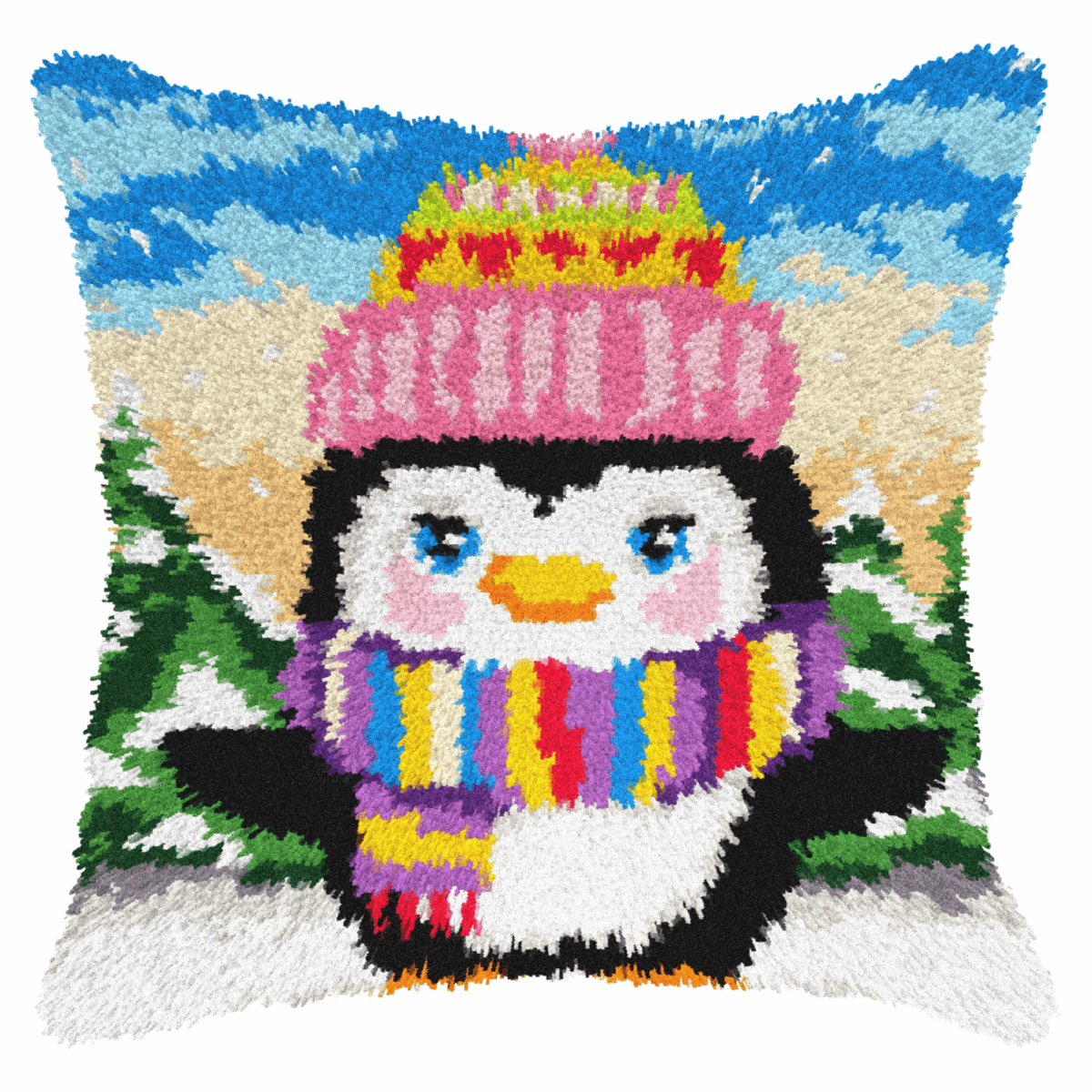 Picture of Latch Hook Kit: Cushion: Penguin
