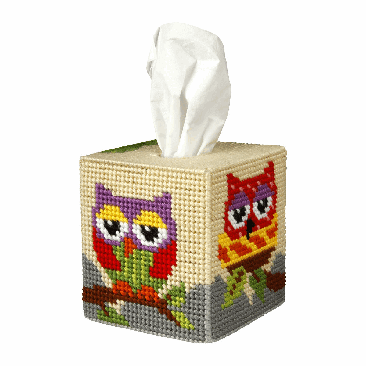 Picture of Needlepoint Kit: Tissue Box Cover: Owl