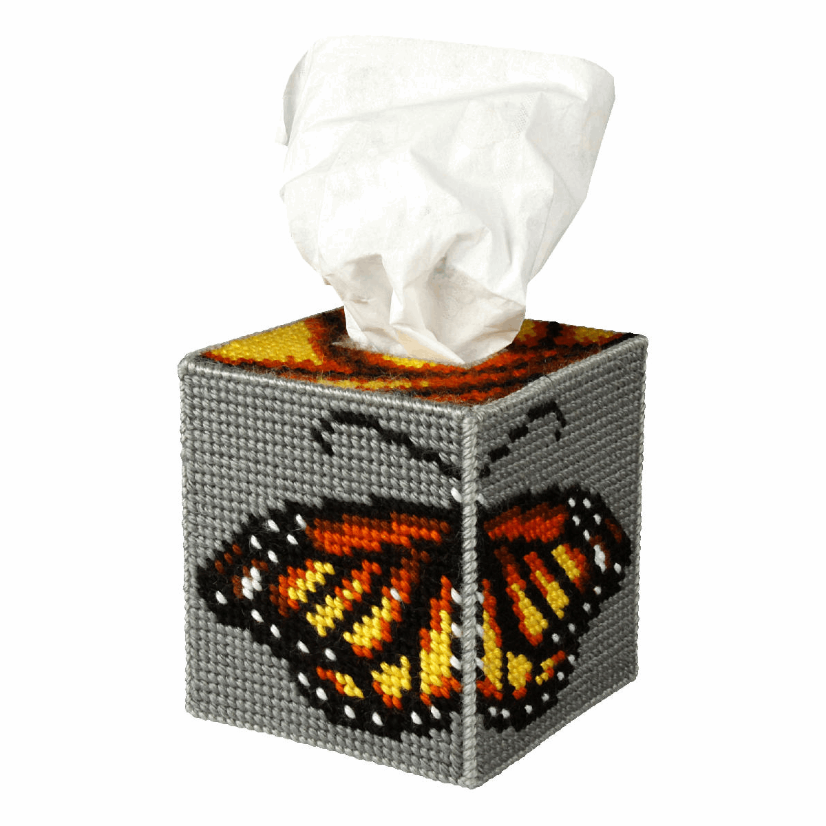 Picture of Needlepoint Kit: Tissue Box Cover: Butterfly