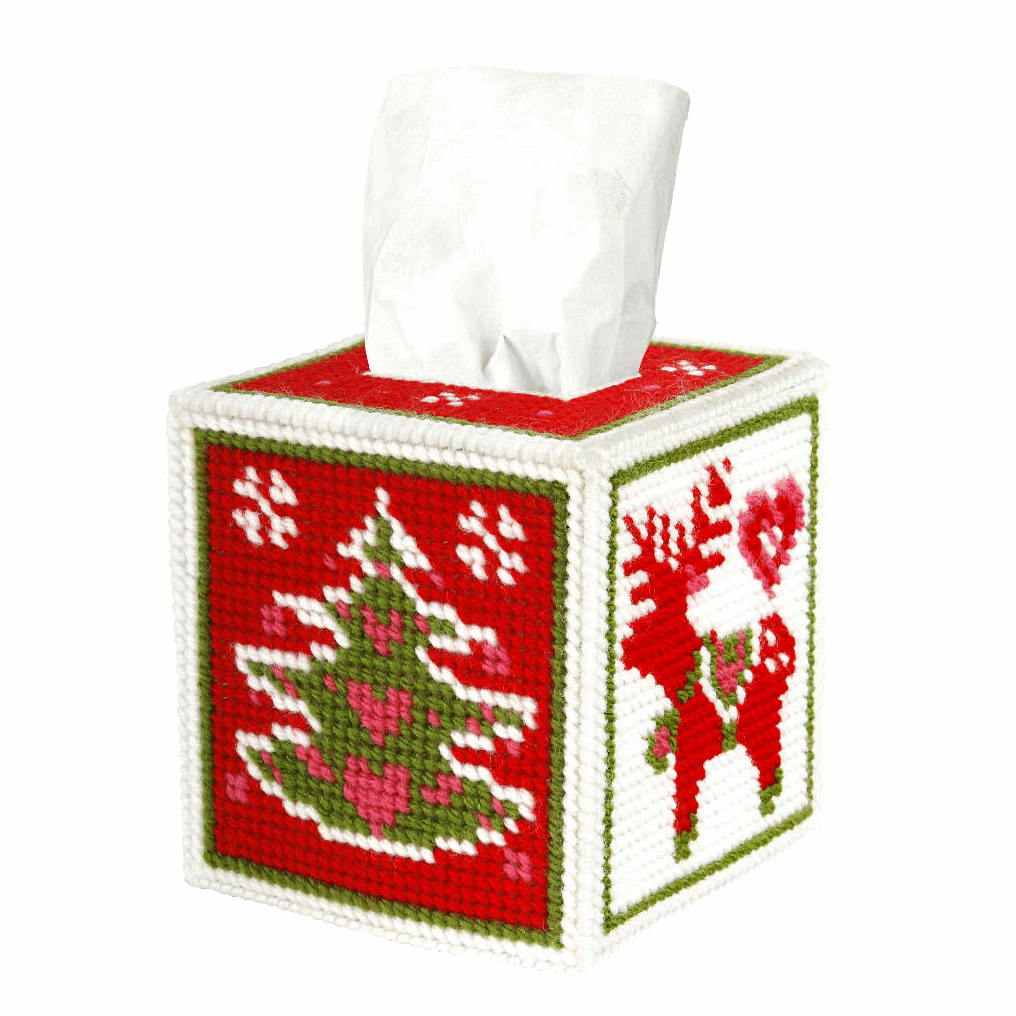 Picture of Needlepoint Kit: Tissue Box Cover: Christmas Motifs