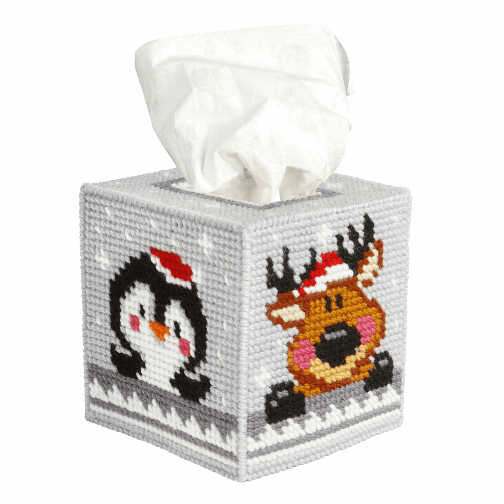 Picture of Needlepoint Kit: Tissue Box Cover: Winter Pets