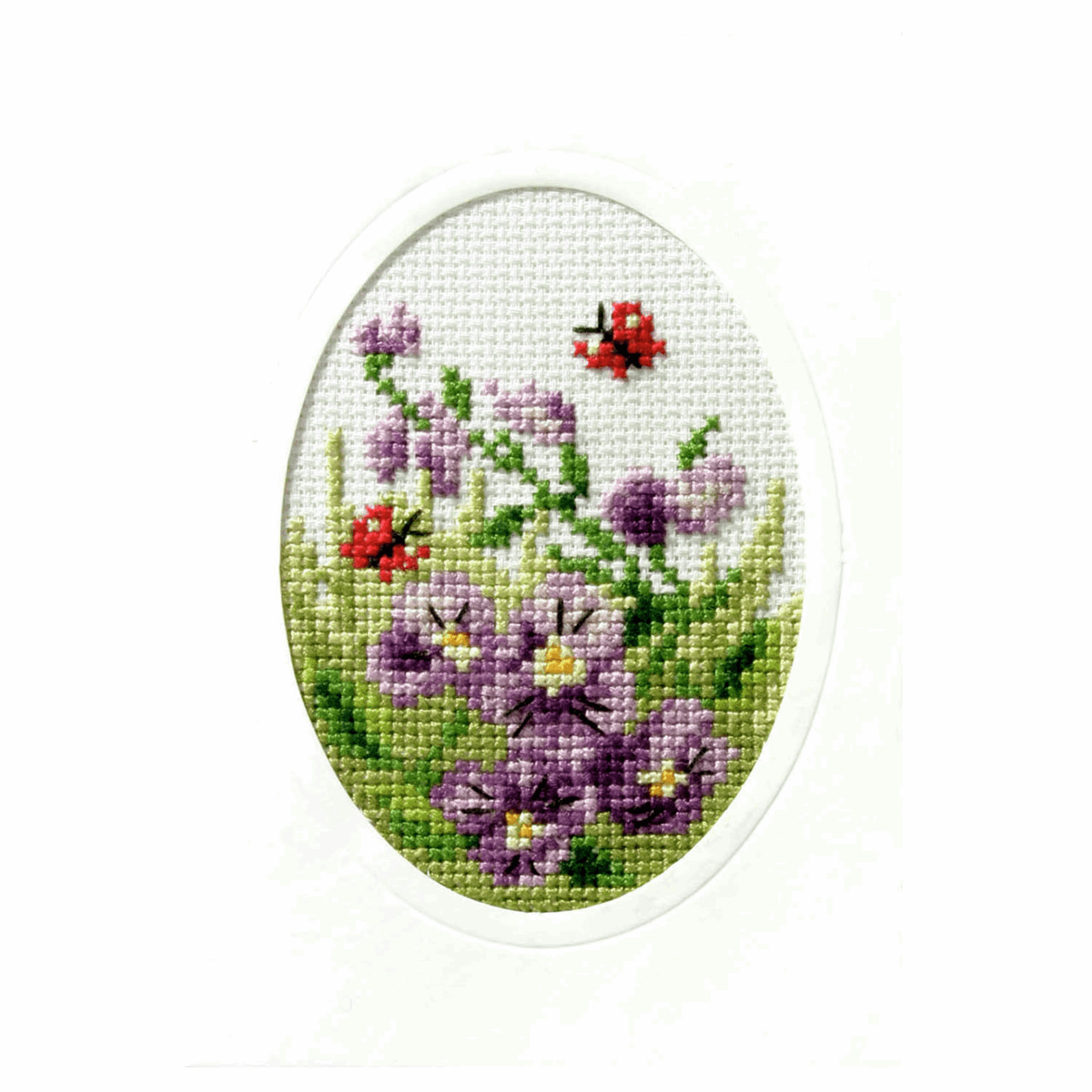 Picture of Cross Stitch Card: Pansies