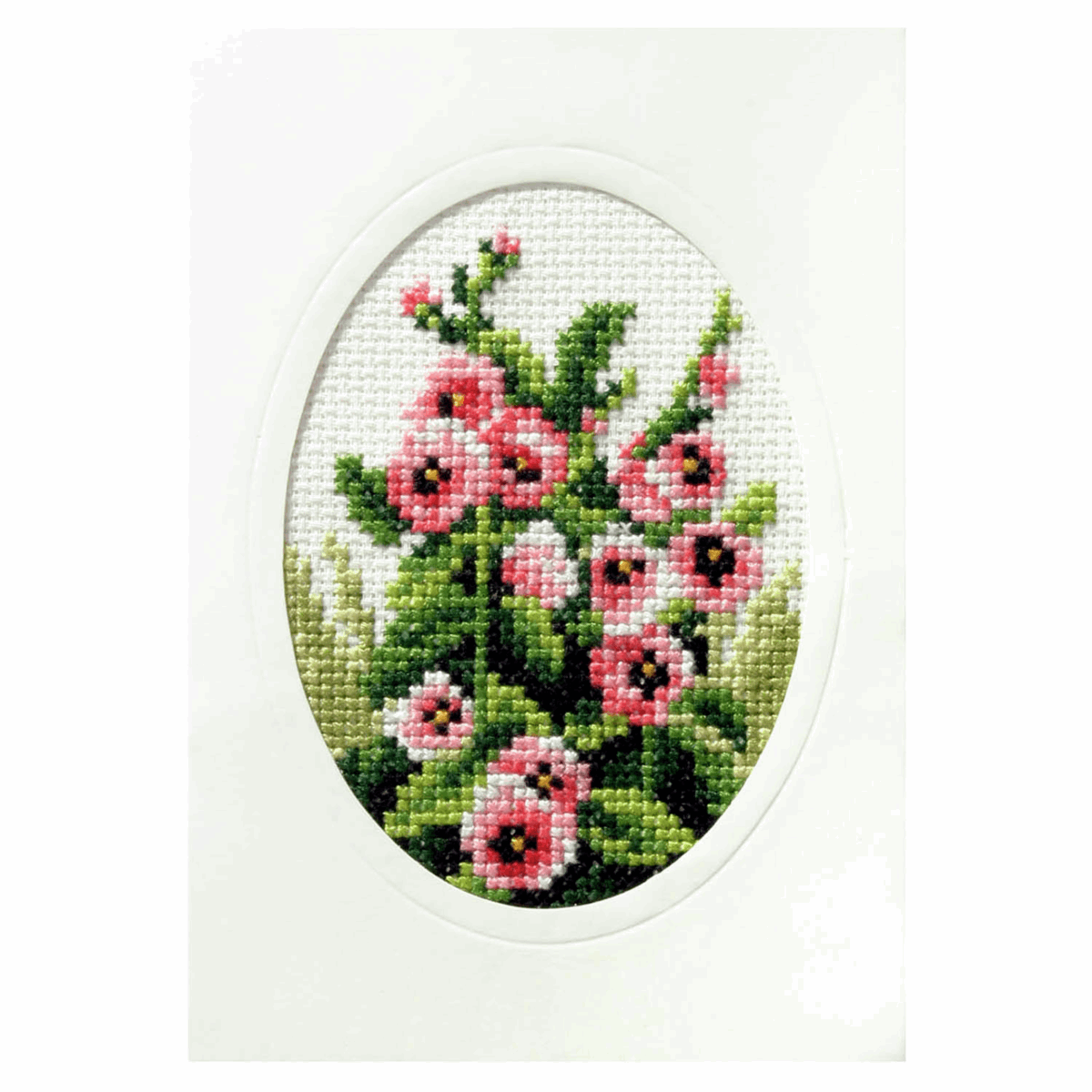 Picture of Cross Stitch Card: Hollyhocks