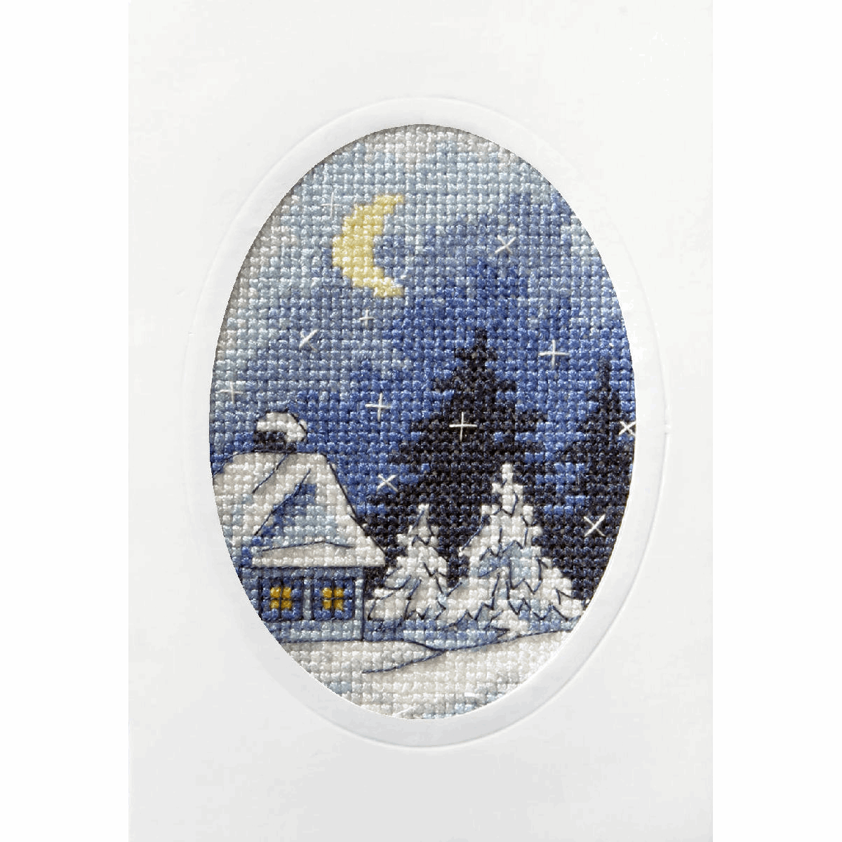 Picture of Cross Stitch Kit: Greetings Card: Twilight Winter Scene