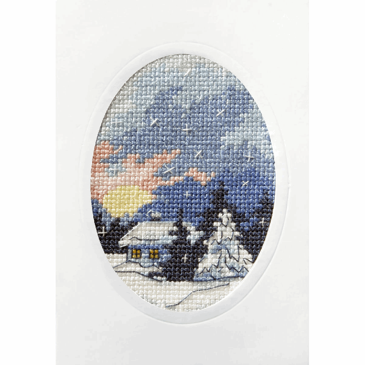 Picture of Cross Stitch Kit: Greetings Card: Moonlit Cottage