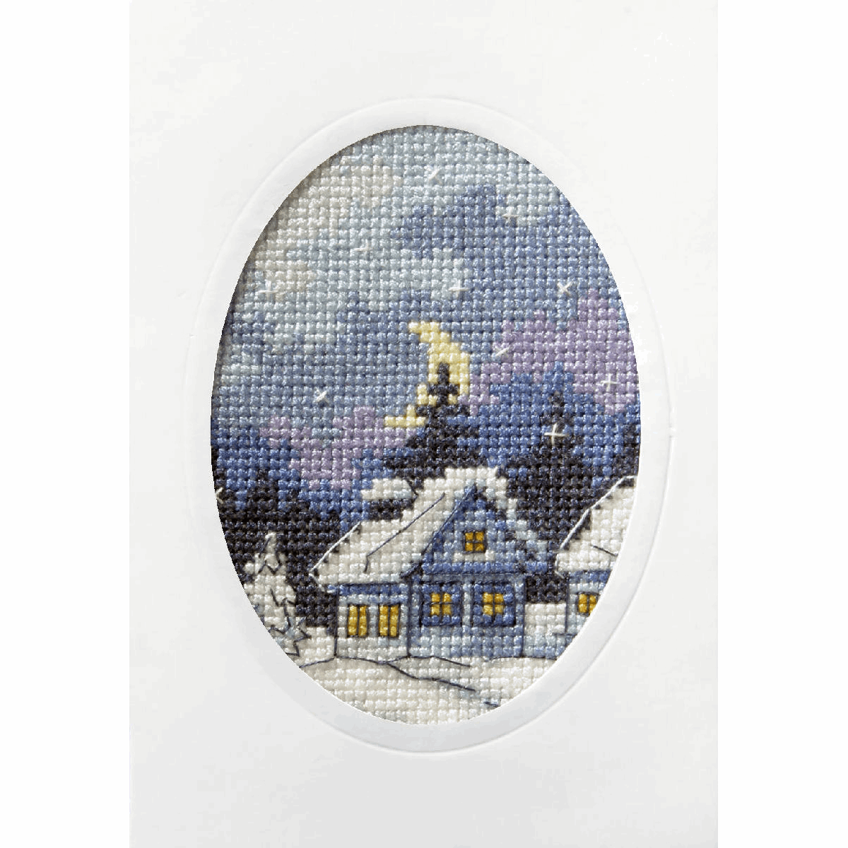 Picture of Cross Stitch Kit: Greetings Card: Twilight Cottage