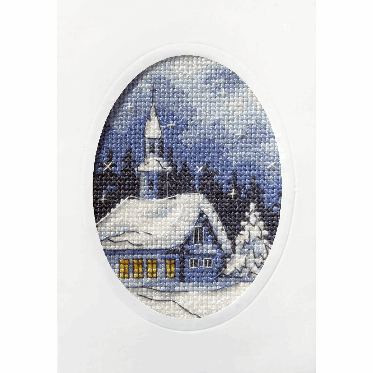 Picture of Cross Stitch Kit: Greetings Card: Twilight Church