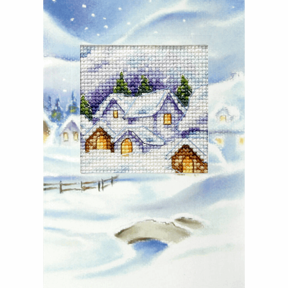 Picture of Cross Stitch Kit: Greetings Card: Christmas Village