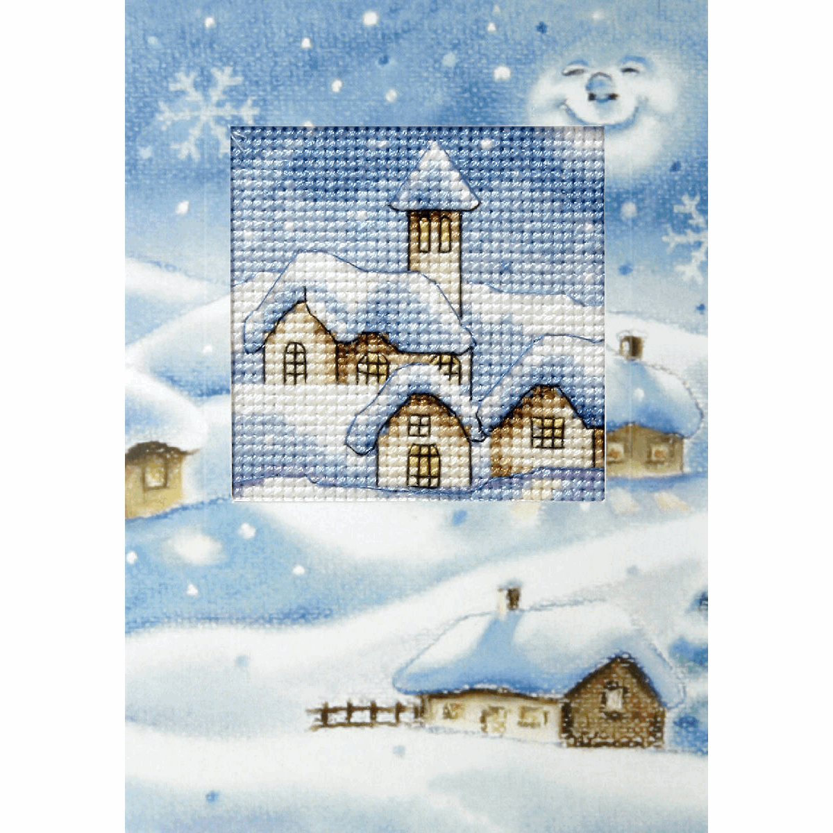 Picture of Cross Stitch Kit: Greetings Card: Christmas Church