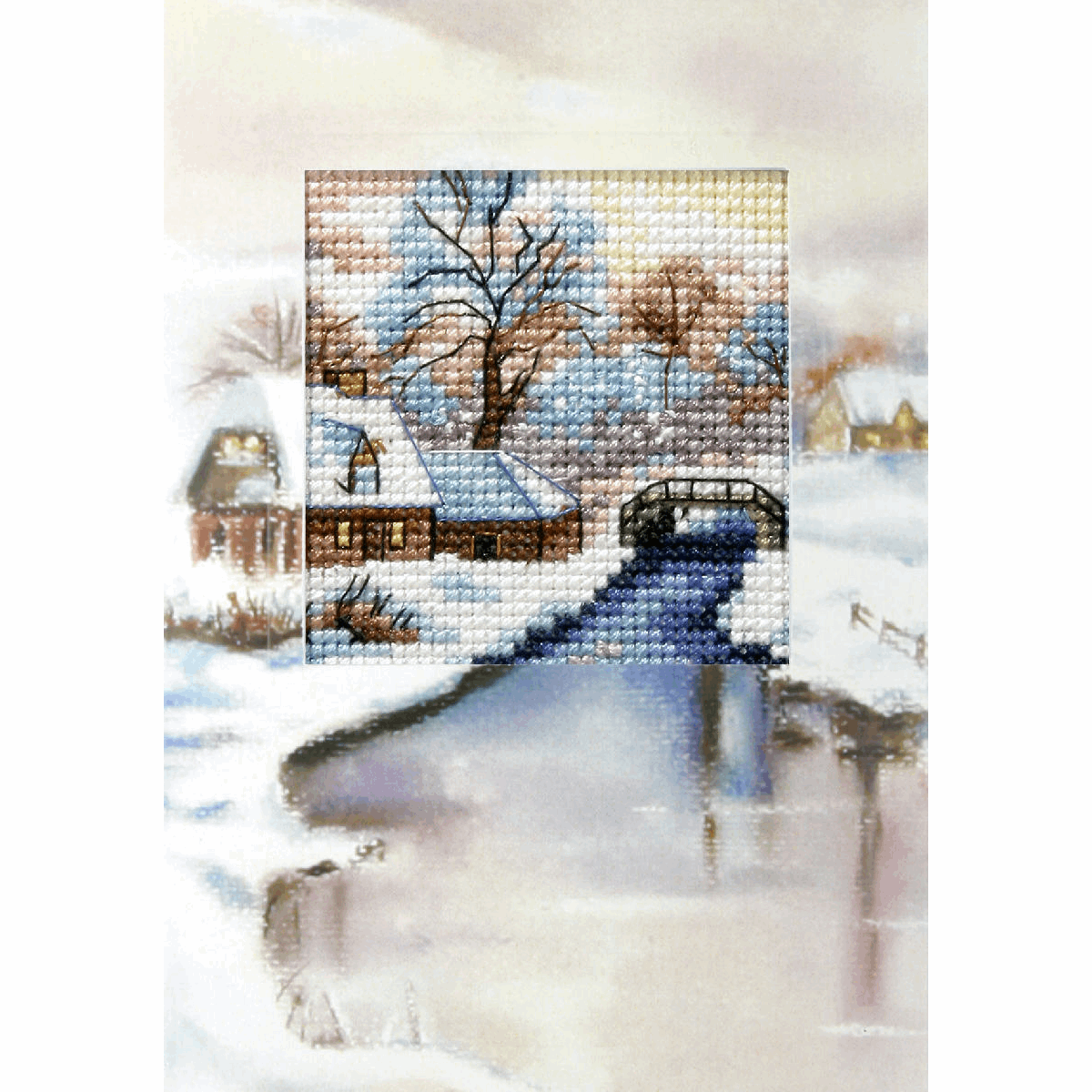 Picture of Cross Stitch Kit: Greetings Card: Winter River