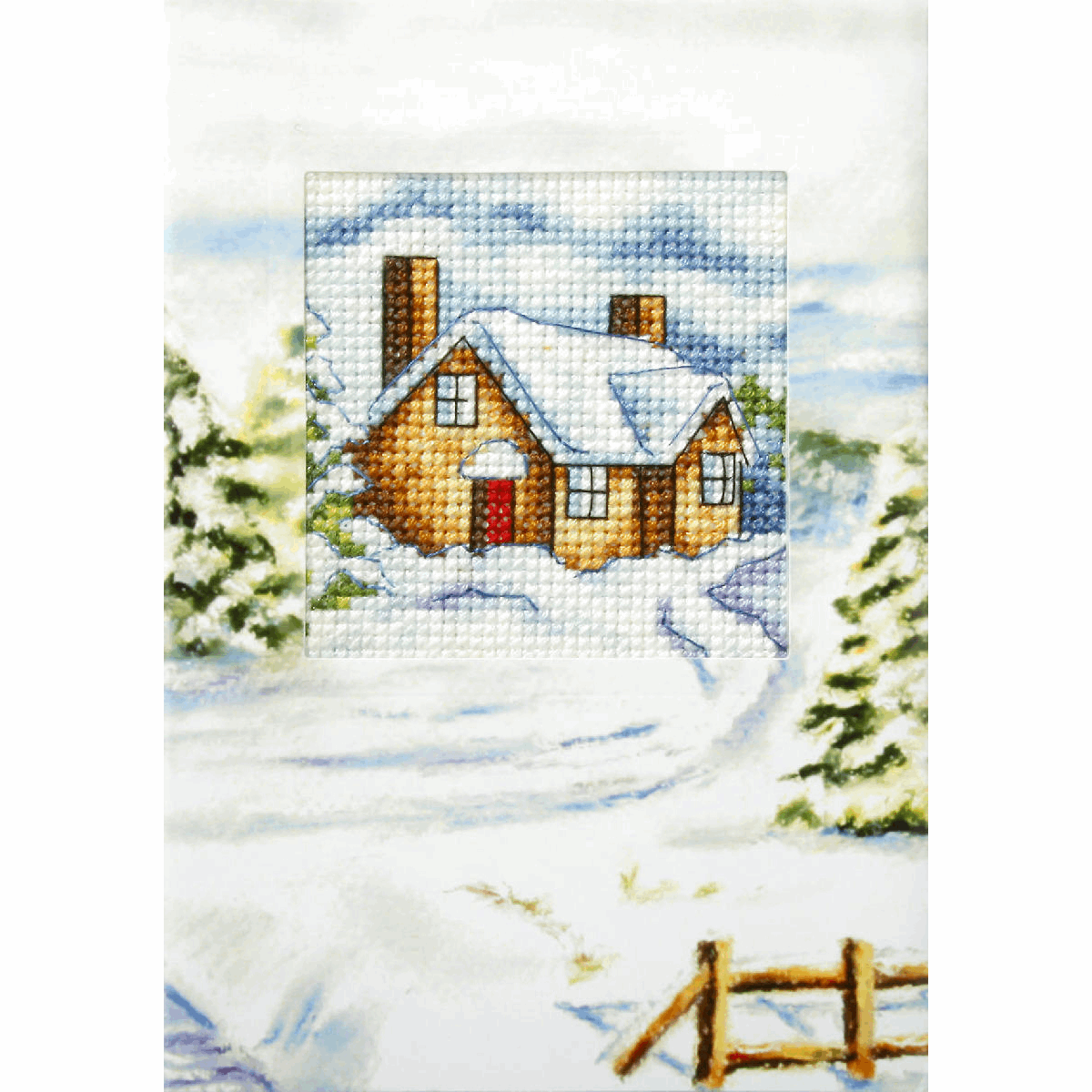 Picture of Cross Stitch Kit: Greetings Card: House in Winter