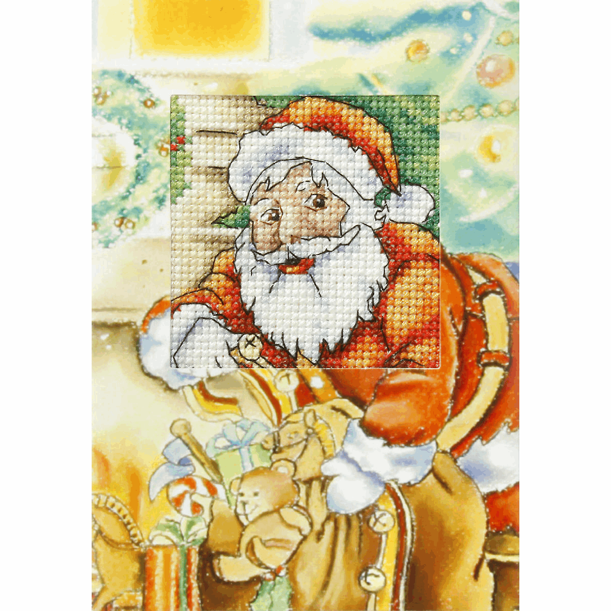 Picture of Cross Stitch Kit: Greetings Card: Santa Claus with Gifts