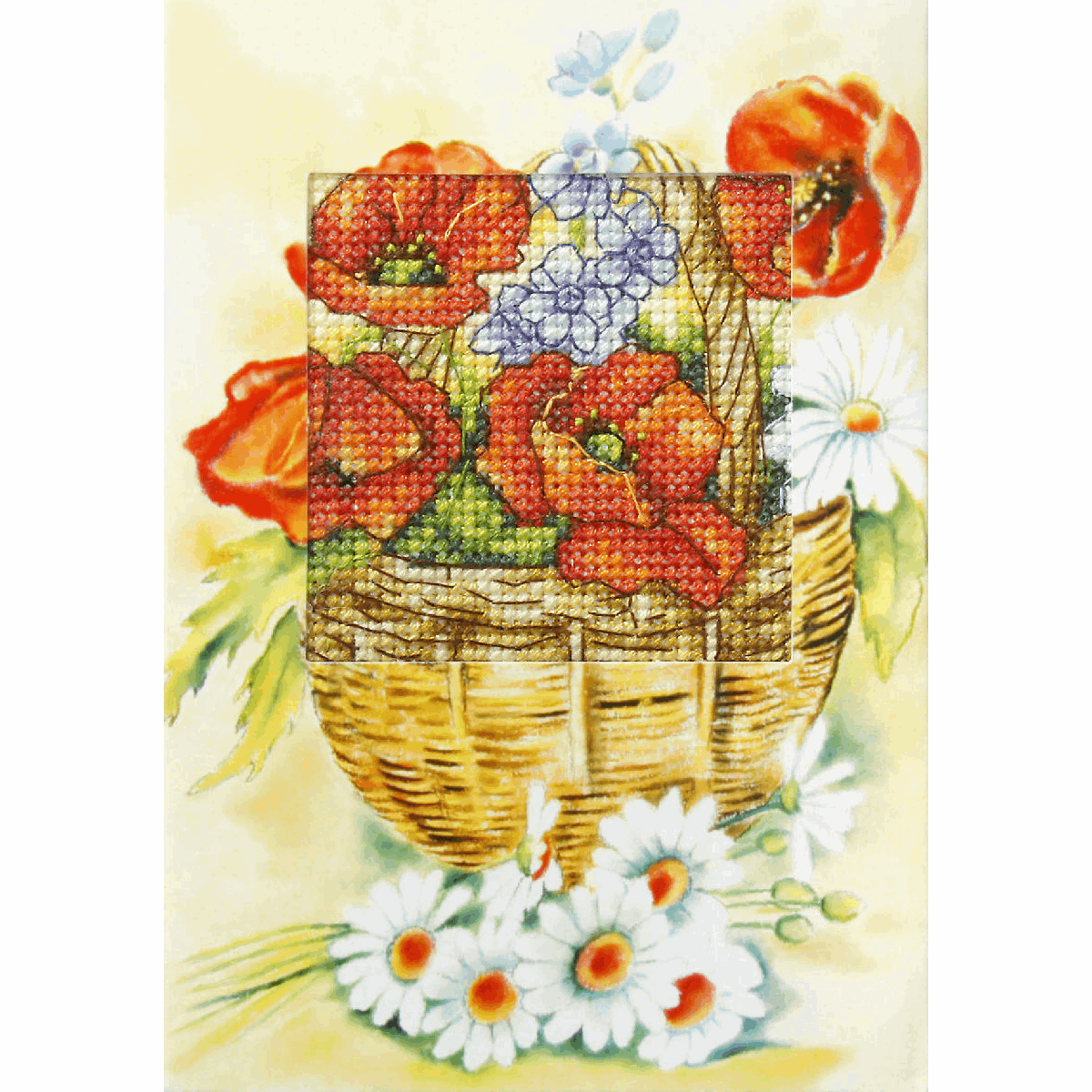 Picture of Cross Stitch Kit: Greetings Card: Poppies and Daisies