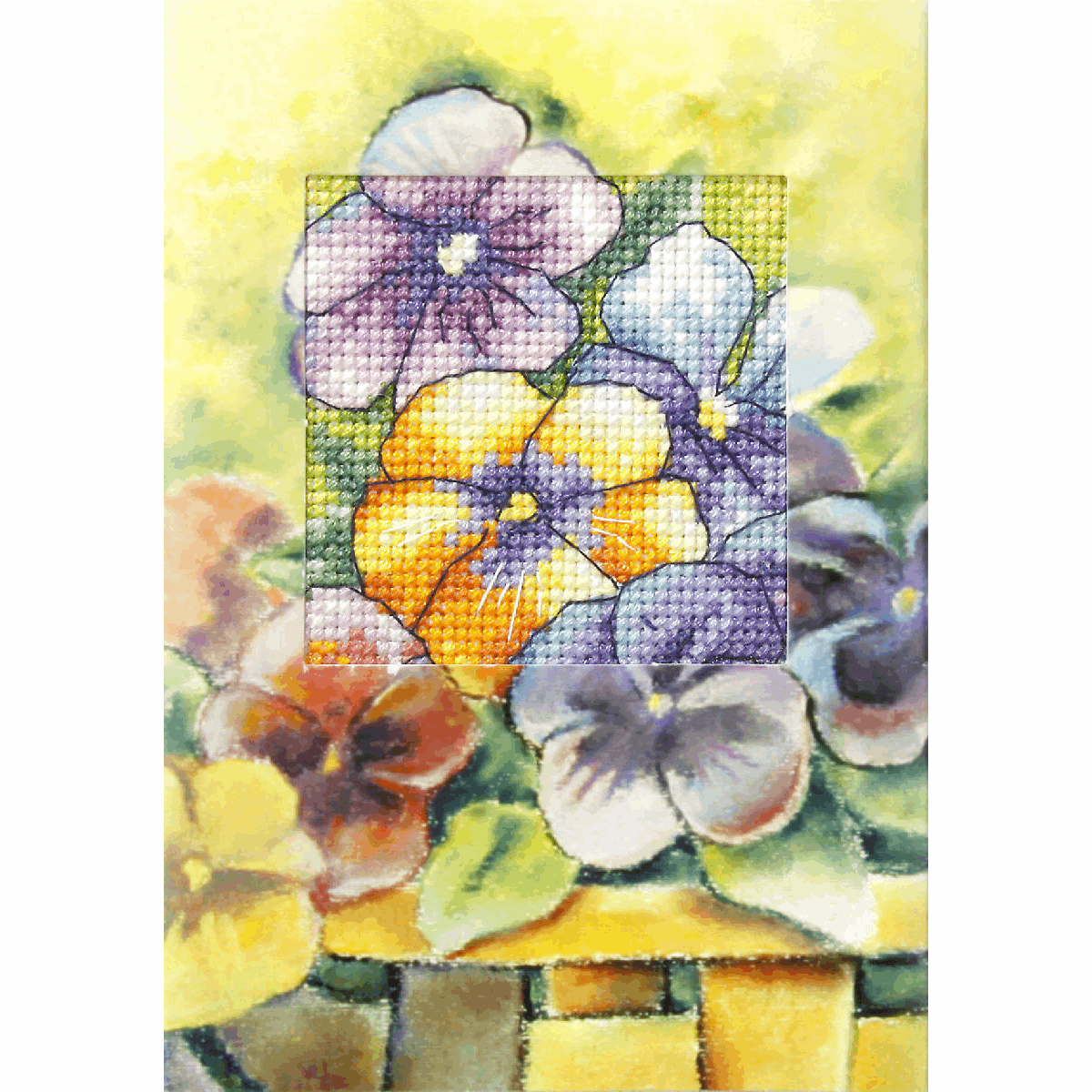 Picture of Cross Stitch Kit: Greetings Card: Pansies