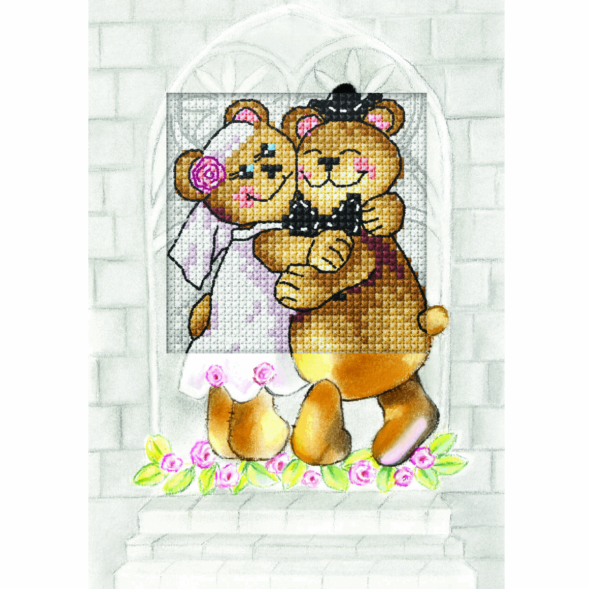 Picture of Counted Cross Stitch Kit: Greetings Card: Just Married