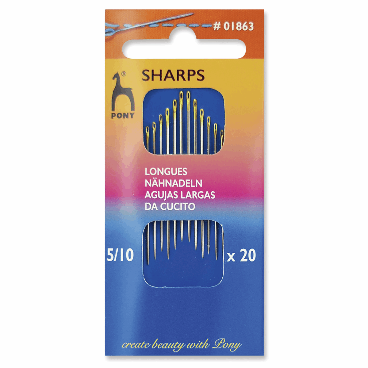 Picture of Hand Sewing Needles: Sharps: Gold Eye: Sizes 5-10