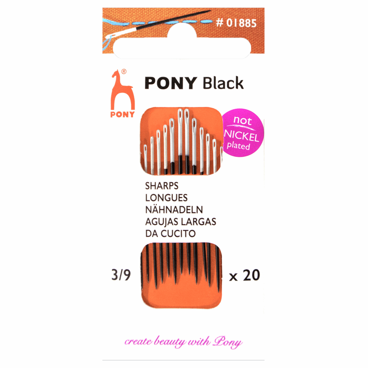 Picture of Hand Sewing Needles: Sharps: Black with White Eye: Size 3-9