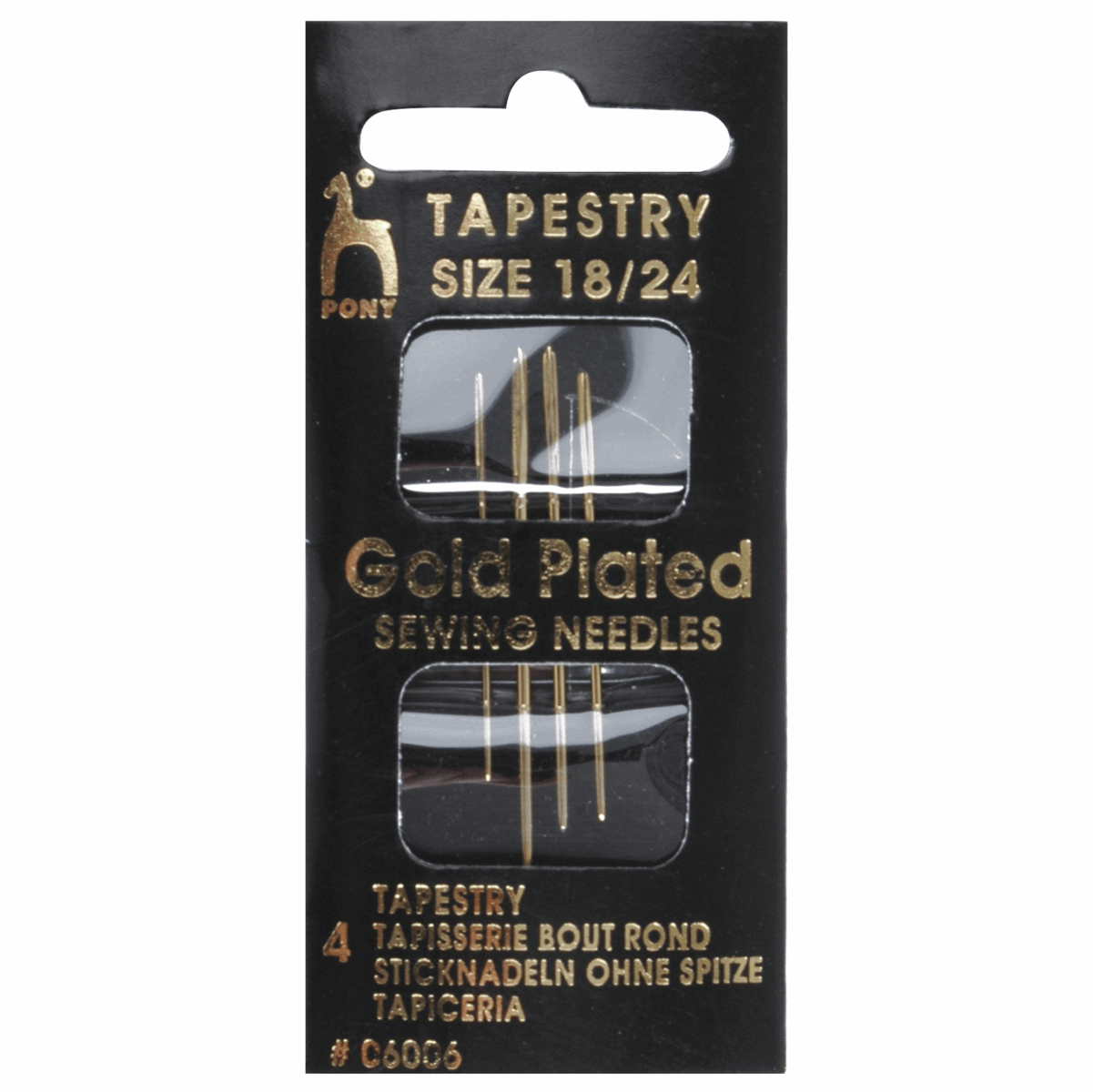Picture of Hand Sewing Needles: Tapestry: Gold Plated: Size 18-24