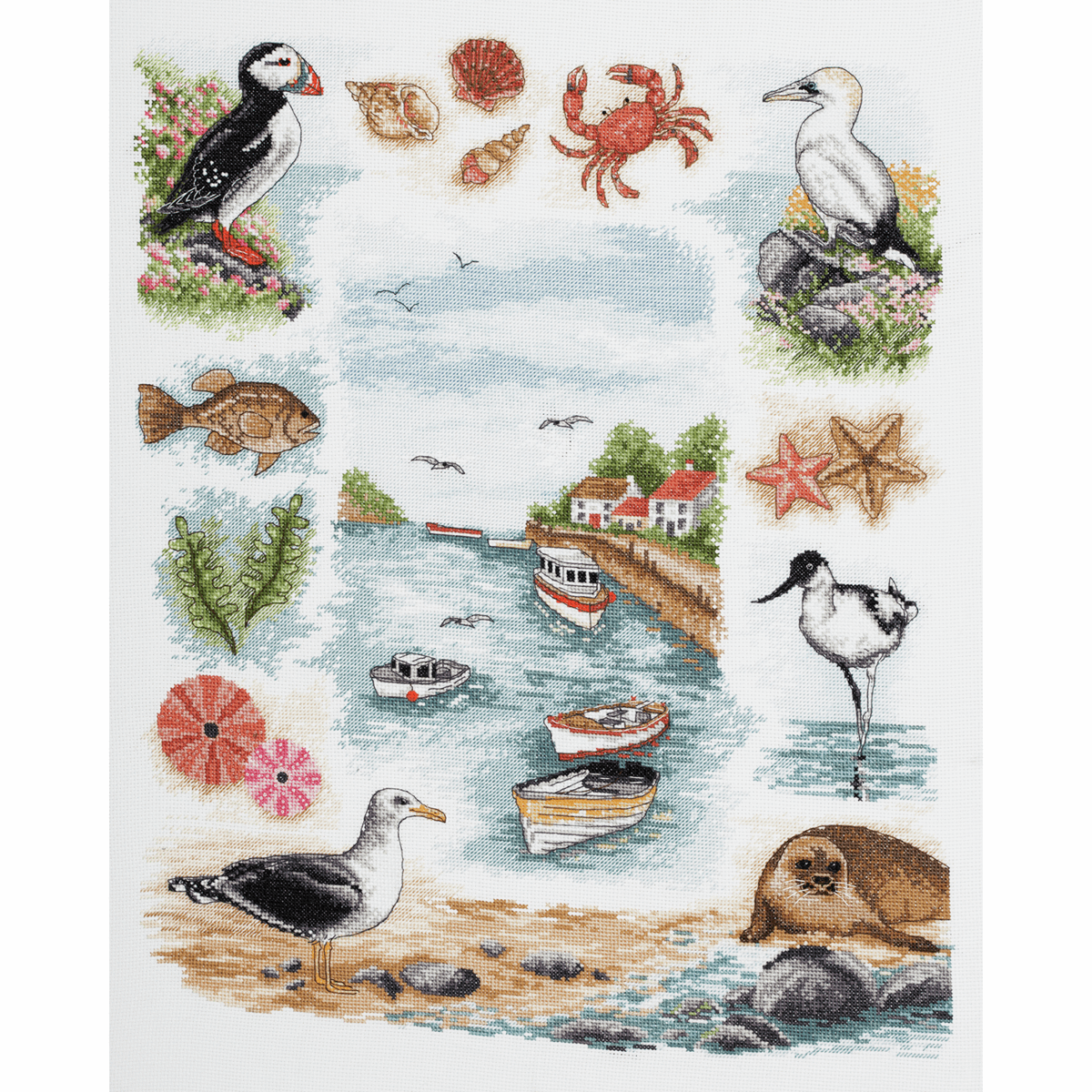 Picture of Counted Cross Stitch Kit: Sampler: Coastal