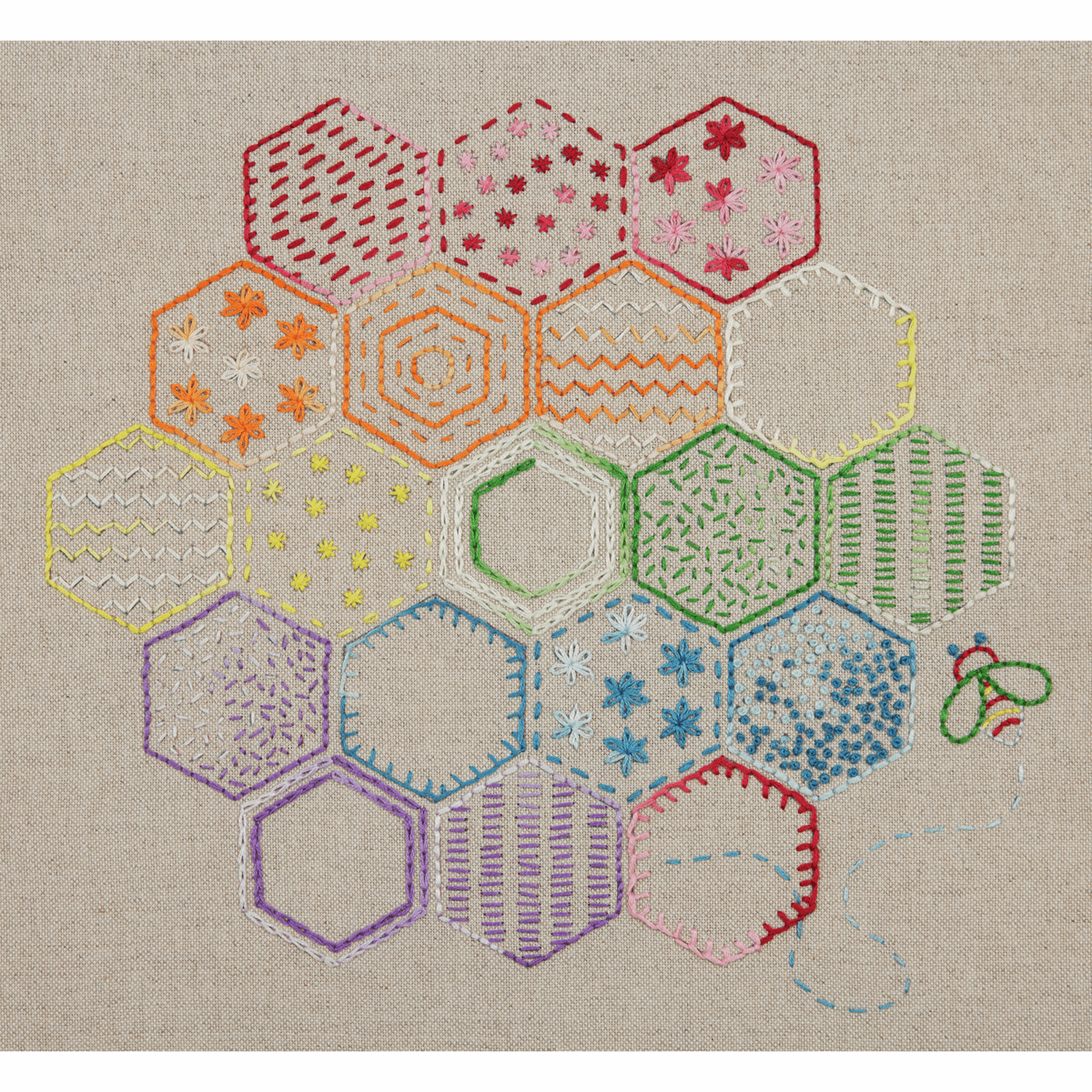 Picture of Embroidery Kit: Essentials: Stitch Sampler 1: Honeycomb