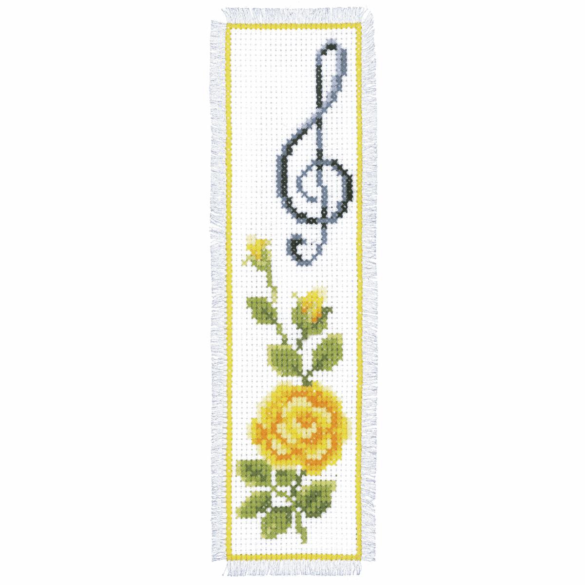 Picture of Counted Cross Stitch Kit: Bookmark: Rose & Treble Clef