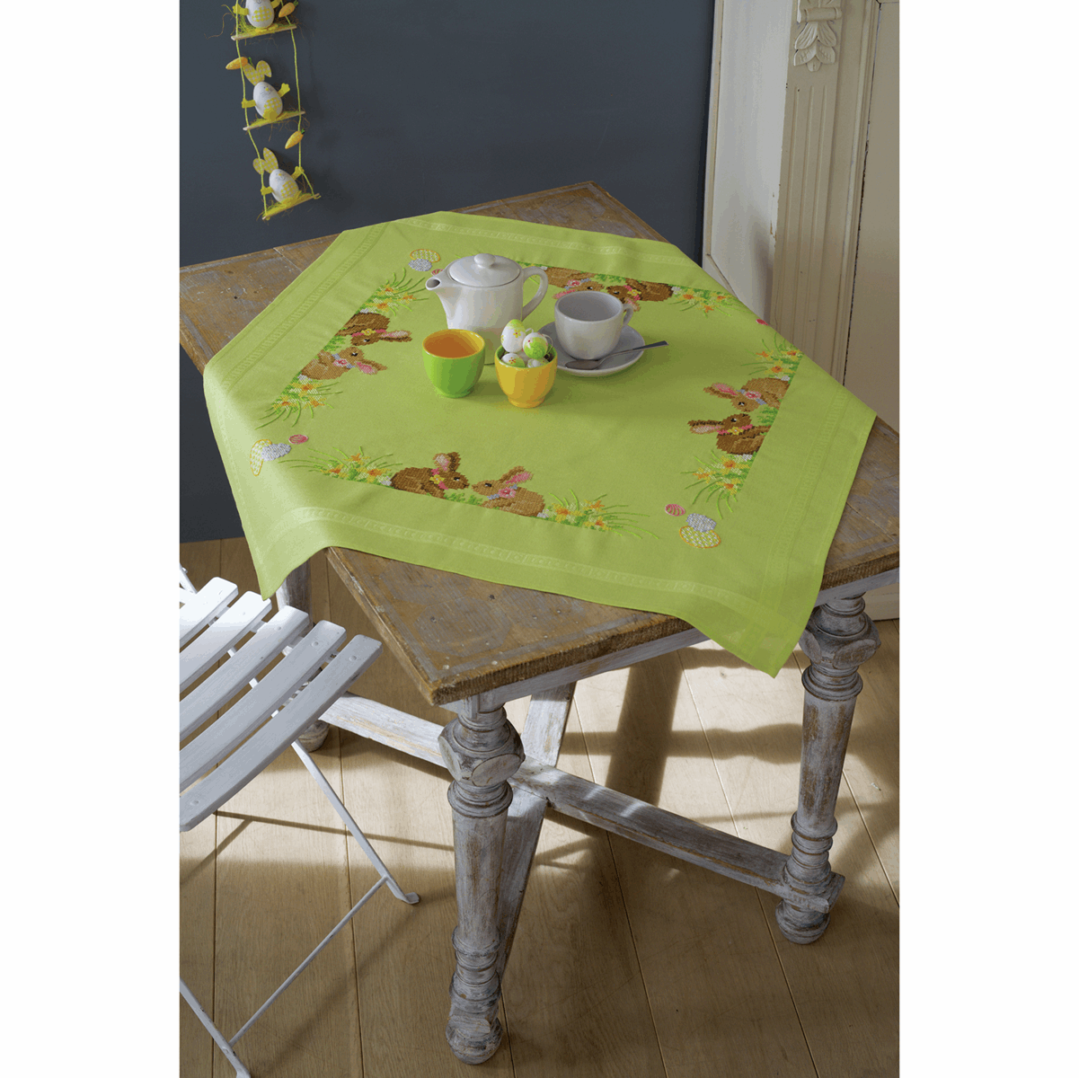 Picture of Cross Stitch Kit: Tablecloth: Easter Bunnies