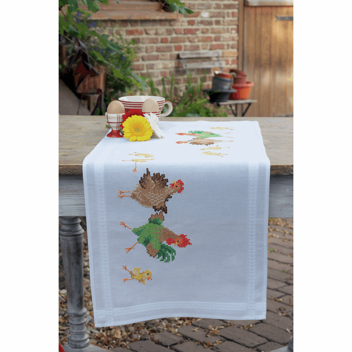 Picture of Cross Stitch Kit: Table Runner: Chicken Family