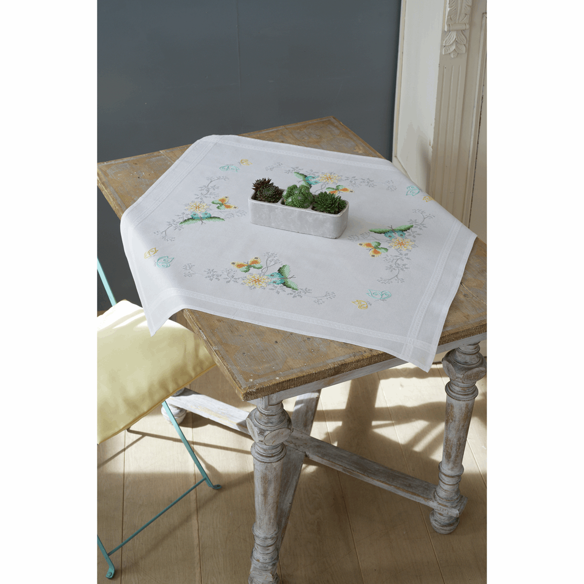 Picture of Cross Stitch Kit: Tablecloth: Flowers & Butterflies