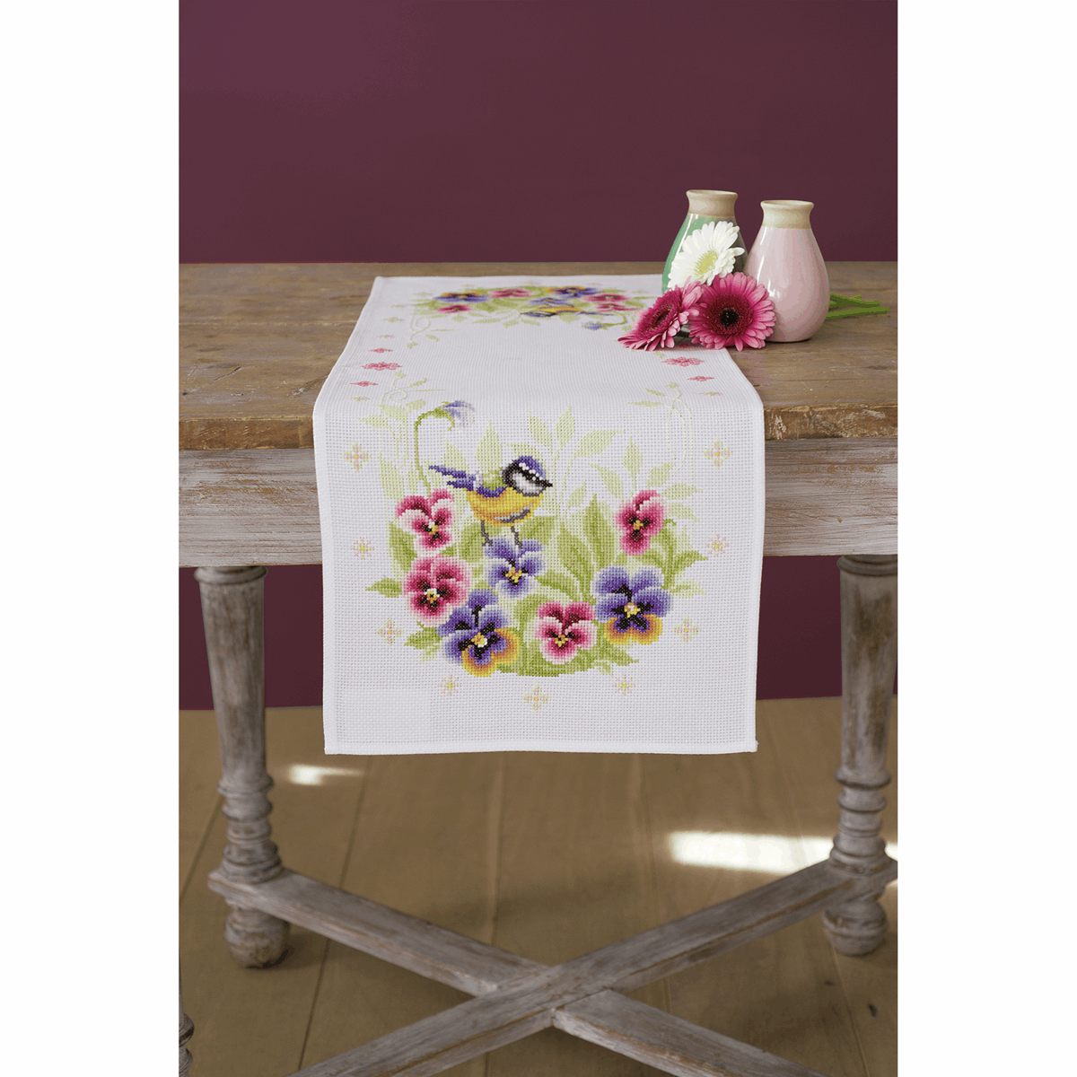 Picture of Cross Stitch Kit: Runner: Birds & Violets