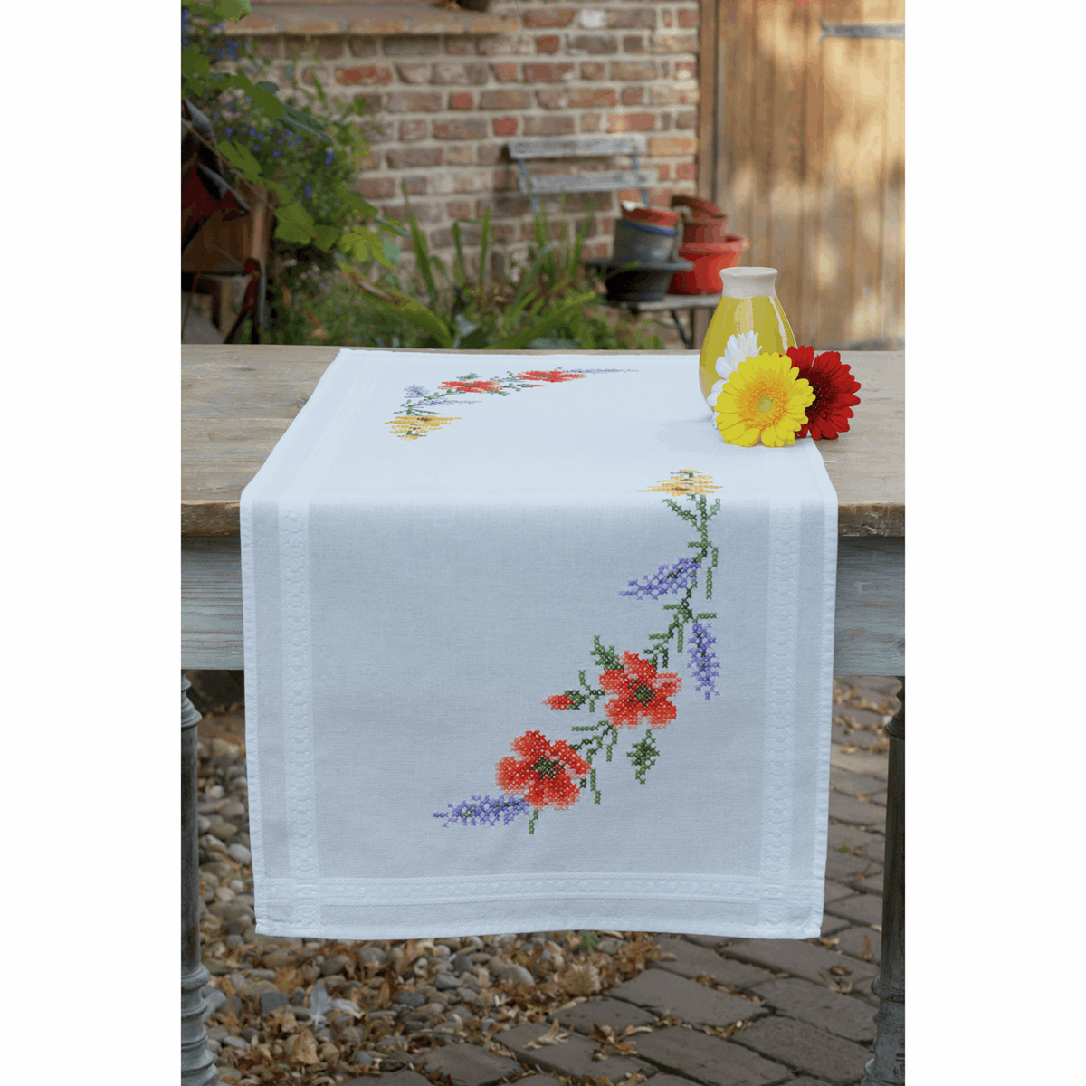 Picture of Cross Stitch Kit: Table Runner: Flowers & Lavender