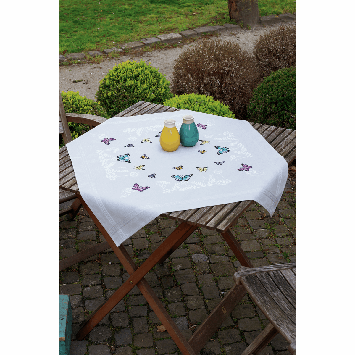 Picture of Embroidery Kit: Tablecloth: Butterfly Dance