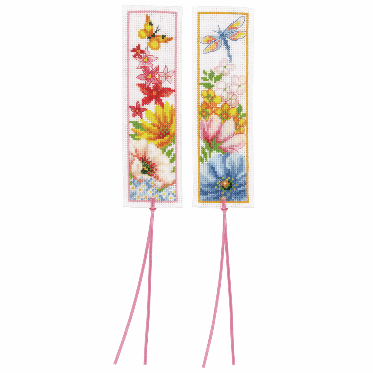 Picture of Counted Cross Stitch Kit: Bookmarks: Colourful Flowers: Set of 2 (Aida)