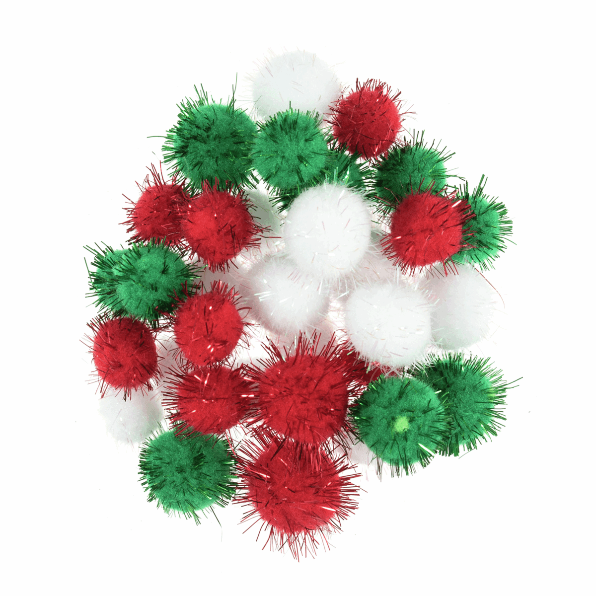 Picture of Pom Poms: Assorted Colours/Sizes: Christmas Metallic: Pack of 100