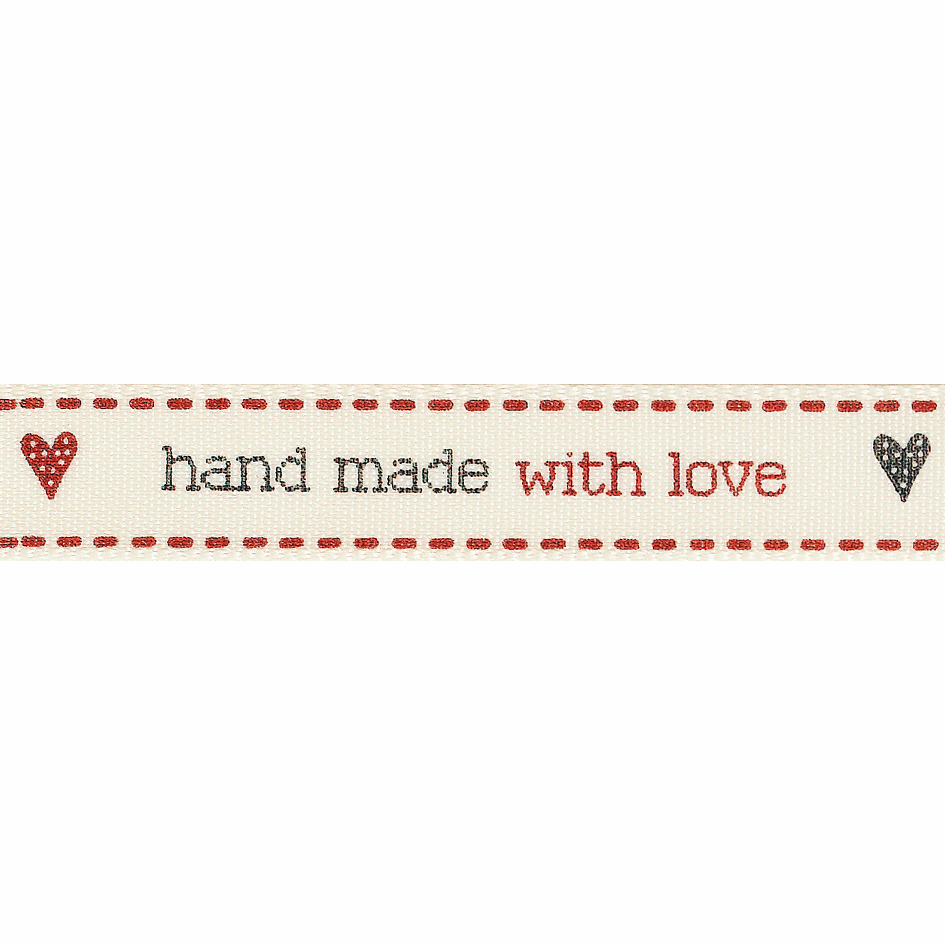 Picture of Hand Made with Love: 20 m x 15mm: Red/Natural